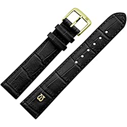 Uhrenarmband 20 mm Leder schwarz matt Prägung, Alligator - MADE IN GERMANY - Uhrband mit Marburger Logo, in matter Farbe & Alligatoroptik - Marburger Uhrenarmbänder seit 1945 - matt schwarz / gold