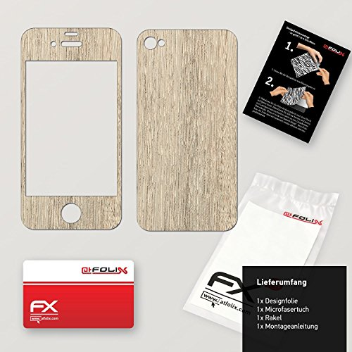 "Skin Apple iPhone 4 / 4s ""FX-Brushed-Black"" Designfolie Sticker FX-Wood-Bleached-Oak"