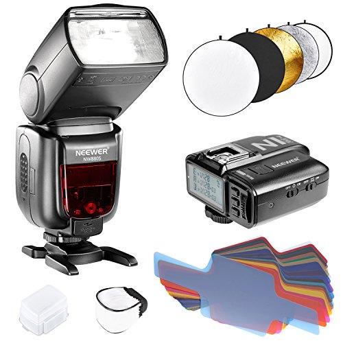 Neewer TTL Blitz Set für Sony DSLR Kamera Funk GN 60 2.4G HSS Master / Slave Speedlite mit neuem Mi Schuh: NW880S Blitz, N1T-S Auslöser, harter und weicher Diffusor, 20 Stück Farbfilter und 5-in-1 Reflektor