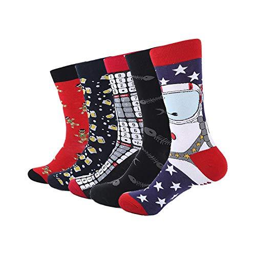 gthytjhv Calcetines de tripulación, paquete de calcetines de vestir, 5 Pair/Lot Colorful Funny Socks Mens Cotton Novelty Painting Popular Harajuku Long Socks Knitting Crew Socks Wedding Gift SYM613