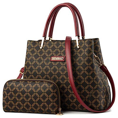 Umhängetasche - Mode Leder Damentasche Europäische Große Kapazität Tragbare Umhängetasche Kaffee Mit Weinrot - Gucci Handtaschen Schuhe