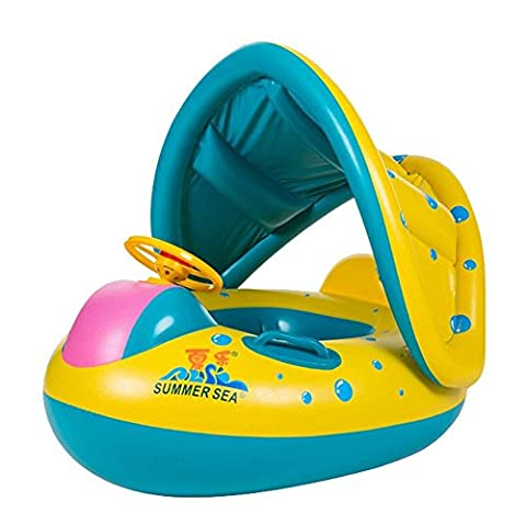 CN Inflatable Pool Toys Summer Outdoor Baby Toys Water Float Swim Ring Seat Boat with Canopy Sunshade Car Shape For Kids