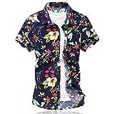 Herren Urlaub Strand Hawaii Blattaufdruck-Hemd (Medium, 666rot)
