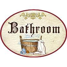 Kaltner Präsente Plaque en anglais Bathroom salle de bain en bois style antique