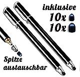 2x Premium Touchstift schwarz mit 20 x Ersatzspitzen Eingabestift Stylus Touch Pen