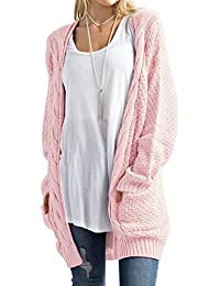 0ebf36a2222517 DYLH Cardigan Donna Lungo Maglione Maglia Sweater Cappotto Anteriore Aperto  con Tasca Maglioni Autunno Inverno Rosso