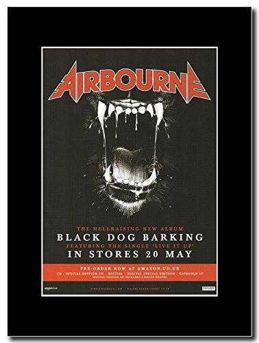 Airbourne, colore: nero, motivo: Barking Magazine Promo su un supporto, colore: nero