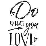 Rayher Hobby 29106000 Holzstempel Do What You Love, 7 x 10 cm, Text mit Aussagekraft, zum Gestalten von Karten u.v.m., Butterer Schrift-Stempel