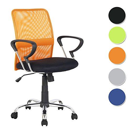 SixBros. Sillón de Oficina Silla de Oficina Silla giratoria Naranja/Negro - H-8078F-2/2116