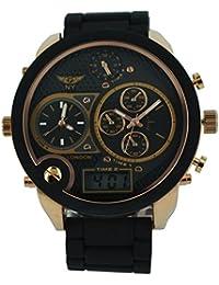 amazon co uk ny london watches men s designer triple time watch digital analogue soft black metal band