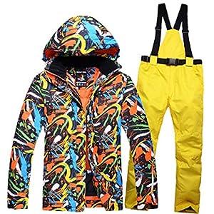 Yammucha Herren Skianzug Winter Skijacke und Hosen Set