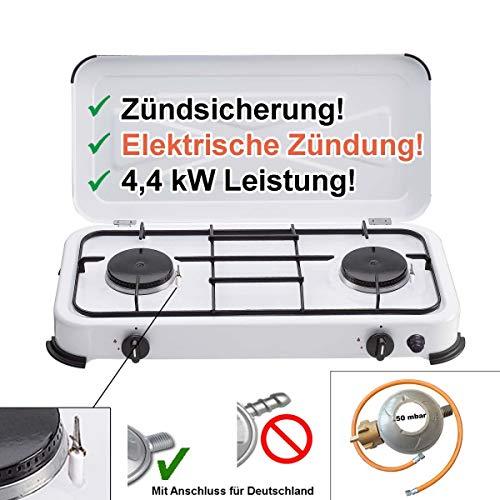 CAGO Camping-Kocher Gaskocher 2-flammig 50 mbar Weiss mit Zündsicherung, mit elektrischer Zündung Gasherd 2 Brenner Gasschlauch Gasregler