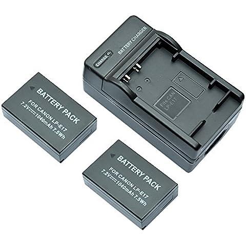 mondpalast@ 2X Reemplazo batería LPE17 LP-E17 1040mAh + cargador para Canon EOS 760D EOS 750D EOS
