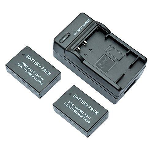 Galleria fotografica mondpalast@ 2X sostituzione batteria Li-ion LPE17 LP-E17 1040mAh + caricabatterie per Canon EOS 760D EOS 750D EOS M3