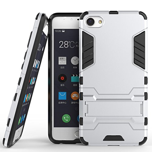 Meizu Meilan U10 Cover, 2 In 1 Neue Armor Tough Style Hybrid Dual Layer Rüstung Defender PC Hartschalen mit Standfuß Shockproof Case Für Meizu Meilan U10 ( Color : Red , Size : Meilan U10 ) Silver