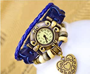 Hot sale 5 colors vintage leather watch with Big-heart Dress Bracelet wrist watch for Women Girls (Drak Blue)