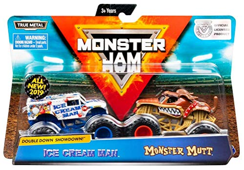 Monster Jam, Official Ice Cream Man vs. Monster Mutt Die-Cast Monster Trucks, 1:64 Scale, 2 Pack