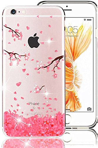 Custodia iPhone 7 Plus,iPhone 7 Plus Cover,Ultrasottile Custodia per iPhone 7 Plus,YingC-T Fantasia Belle Luxury Rosa Fiori di Ciliegio Chiaro Cristalli Glitter Bling Diamante Strass Brillante Custodi Rosa