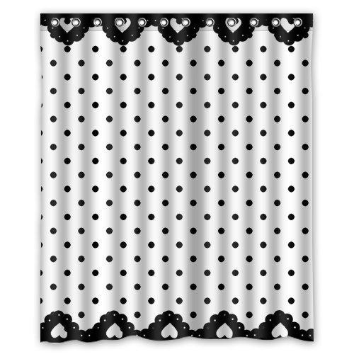 CHATAE Good Casual Stil Vorhang für die Dusche schwarz und weiß gepunktetes Design einfachem Print