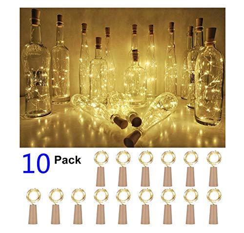 10 Stück 20 LED 2M Flaschen-Licht Warmweiß Cork String Weinflasche Fee Mini Kupferdraht, batteriebetriebene Sternenlichter für DIY Weihnachten Halloween Hochzeit Party Indoor Outdoor ()