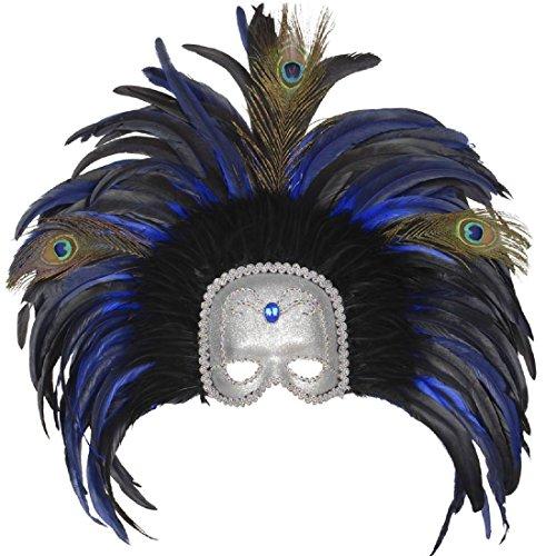 Große Venezianische Federmaske Colombina Maske Rio blau-silber Samba Feder Kopfschmuck Brasilien Ballmaske Karneval Tänzerin Augenmaske Venedig Maskenball (Masken Brasilianische Karnevals)