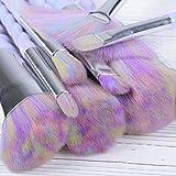 YUMUN®Einhorn Pinsel Set 10 Stück Unicorn Make-Up Lidschatten Mit Tragetasche (Regenbogen-Haar) - 4