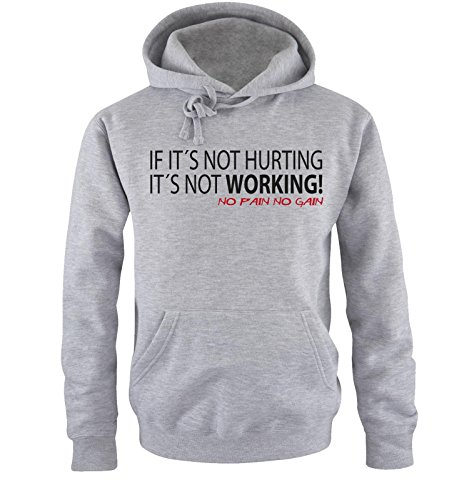 Comedy Shirts - IF IT'S NOT HURTING... - Uomo Hoodie cappuccio sweater - taglia S-XXL different colors grigio / nero-rosso