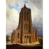 PAINTING CITYSCAPE LANDMARK AINMILLER ULM CATHEDRAL ART