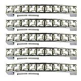 Psmgoods® Pomelli con strass di cristallo, stile europeo per porte dei mobili, per tirare la maniglia di armadi, cassetti, credenze 96MM Pack of 5