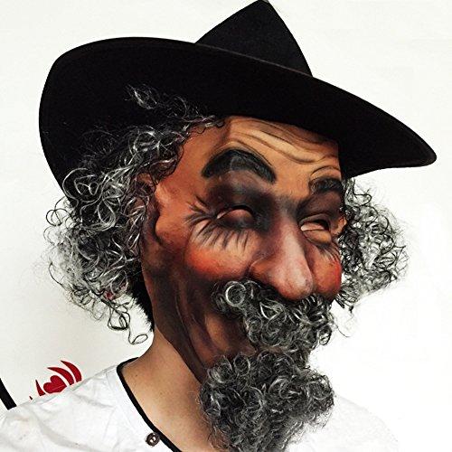 WYDM Simulation Perücke lockiges Haar gefälschte Bart grün Latex Hut Maskerade Party Performance Halloween Performance Maske