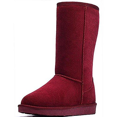 HSXZ Scarpe da donna in pelle Nubuck inverno cadono Comfort Snow Boots stivali Mid-Calf piatto stivali per Casual Borgogna mandorla Caffè Nero Grigio Black
