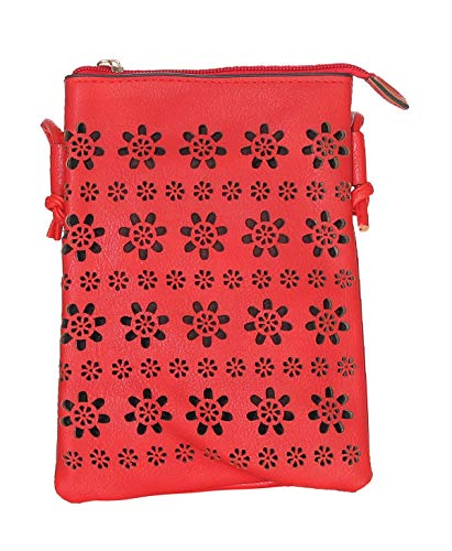 malito Damen Umhängetasche | kleiner Brustbeutel | Schultertasche mit Muster | Hüfttasche - Tasche T2460 (rot)