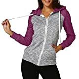 VEMOW Frauen Herbst Casual Täglichen Langarm Dünne Zip Kontrast Sport Im Freien Hood Hoodies Jacke Mantel(Violett, EU-46/CN-XXL)