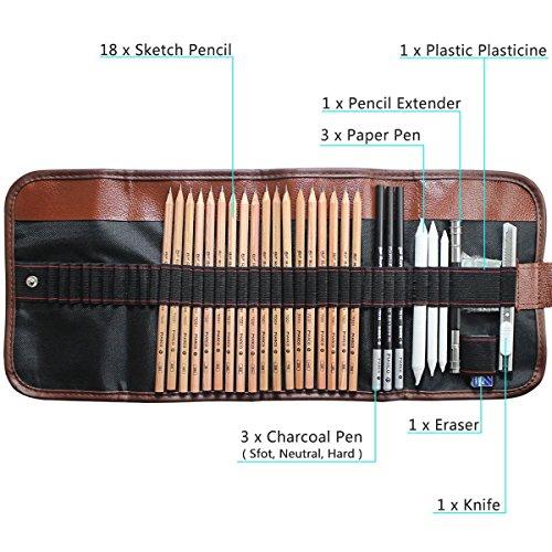 Crayon de Croquis Esquisse Crayons de Dessin Set de Esquisse Artiste Outils avec Rouleau Sac Inclus Gomme Crayon de Charbon Graphite Couteau Extenseur à Dessiner pour Enfants Adultes Peintre Professionnels Crayon Ecologique