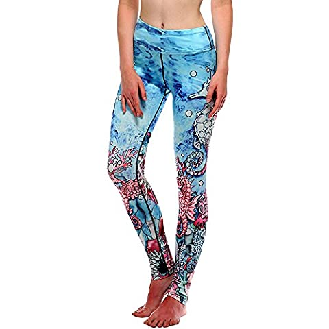 OverDose Women High Waist Fitness Yoga Sport Pants Printed Stretch