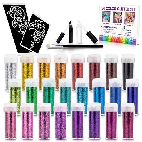 INGALA 24 extra feine Glitzerfarben Set + Körperkunst Kit – Regenbogenglitzer für Slime, Handwerk, Kinder Glitzer Tattoos
