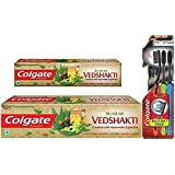 Colgate Swarna Vedshakti Toothpaste - 200 G With Swarna Vedshakti Toothpaste - 100 G And Slim Soft Charcoal Toothbrush