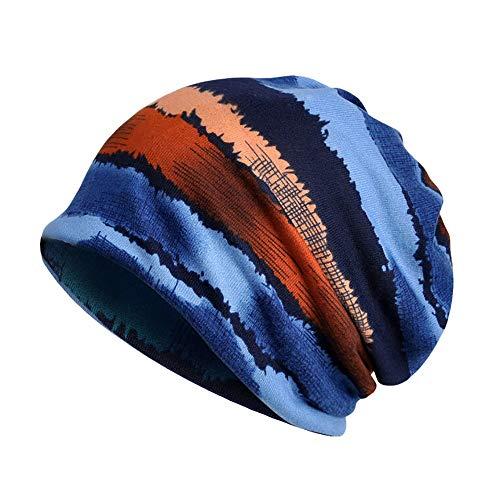 TUDUZ Mützen Herren Damen Baumwolle Slouch Beanie Mütze Cap Kopfbedeckung Set Schwarz & Grau für Chemo, Sport, Schlaf 27X28CM