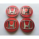 Set de chapas de 4Honda aleación de 70mm rueda Center Hub Caps Rojo Cromado Accord Civic CR-V