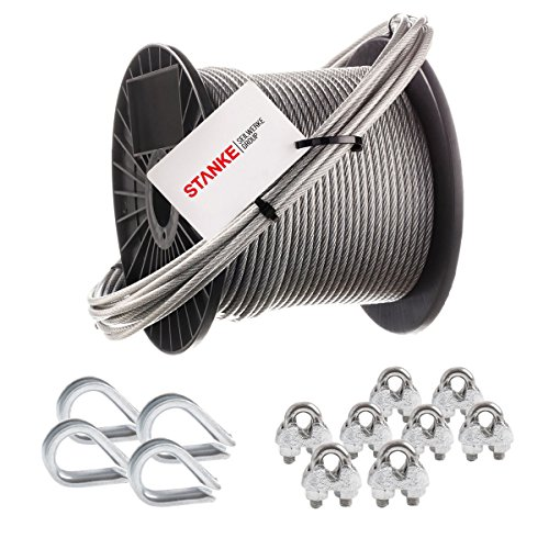Seilwerk STANKE Rankhilfe PVC Drahtseil ummantelt verzinkt 50m Stahlseil 4mm 6x7, 4x Kausche, 8x...