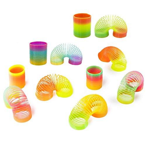 lassische Neuheit Bunte Regenbogen Neon Kunststoff Frühling Spielzeug für Geburtstagsfeierbevorzugungen Geschenk, Tasche Füllstoffe ()