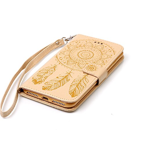 C-Super Mall-UK Apple iPhone 7 Plus hülle: Qualität Exquisite Geprägte Traumfänger und Blumenmuster PU-Leder-Mappen-Standplatz -Schlag-hülle für Apple iPhone 7 Plus(rot) golden