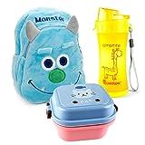 Lantelme 5991 Kinder Rucksack Monster - Brotdose und Trinkflasche im Set für Kindergarten - Kinderkrippen und auf Reisen