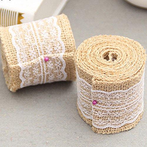 2 m 6 cm Jute Toile de jute Garniture de dentelle ruban en toile de jute rustique Décoration de fête de mariage, blanc, Taille unique