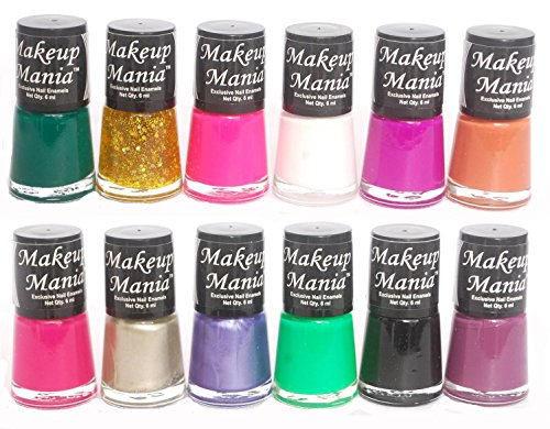 Makeup Mania Rich Color Nail Polish Enamels - White, Black, Green, Red, Silver, Golden & Many More in Combo of 12 Pcs Nail Paint (Multicolor Set # 82)