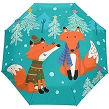 bennigiry Umbrella Cartoon Fox UV anti ligero sombrilla elegante reverso 3plegable gota resistente paraguas Regalos especiales para negocios y personal, mujer, Multi#001, talla única