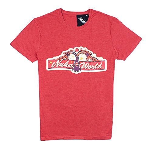 fallout 4 t shirt Fallout 4 Nuka World T-Shirt Main Gate Short Sleeve Tee | Small Heather Red