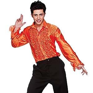 Orange Disco Ruffle Shirt - Adult Costume Accessory Men : MEDIUM