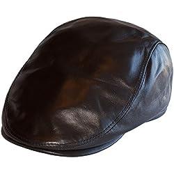 Dazoriginal Boina Cuero Casquillos plano Viseragorras Hombre Gorra Plana sombrero Marron FlatCap