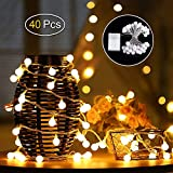 Lichterkette, phixilin 4.2m 40 LED Globe Lichterkette Deko Glühbirne Beleuchtung Kugel Lichterkette mit 2 Modi für Weihnachten, Hochzeit, Party, Zuhause, Garten, Balkon, Fenster, Bar - Warmweiß